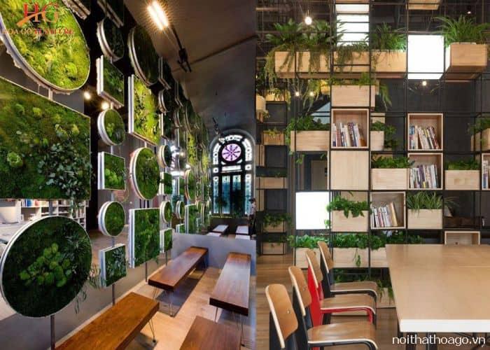 Thiết kế vách ngăn bằng hệ thống cây xanh mang lại không gian tươi mát cho quán cafe đang khá được ưa chuộng hiện nay