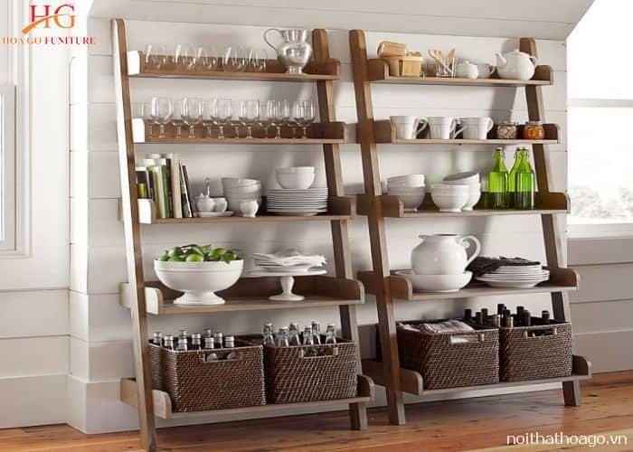 Kệ gỗ cho phòng bếp