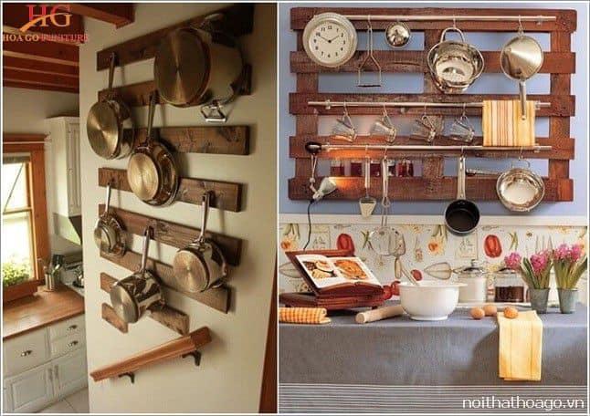 Kệ gỗ thiết kế tối giản dùng để treo dụng cụ nấu nướng