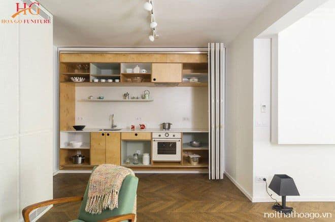 Mẫu kệ gỗ kết hợp với tủ kệ bếp