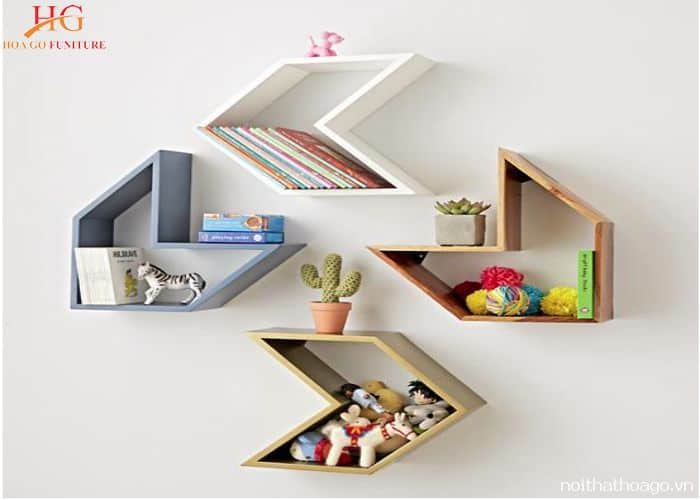 Kệ sách treo tường sáng tạo bằng gỗ