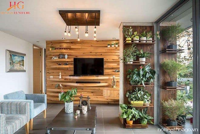 Mẫu kệ gỗ trang trí đẹp gắn trên tường
