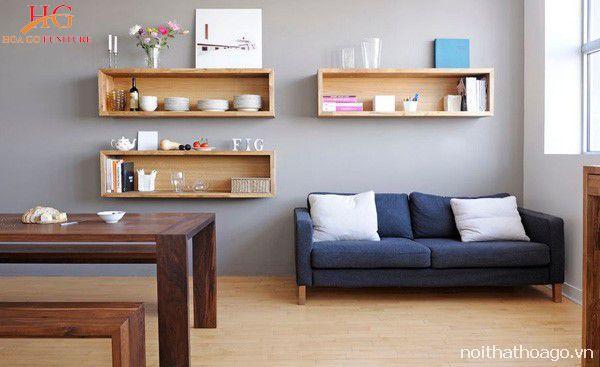 Kệ gỗ kết hợp với tủ gỗ