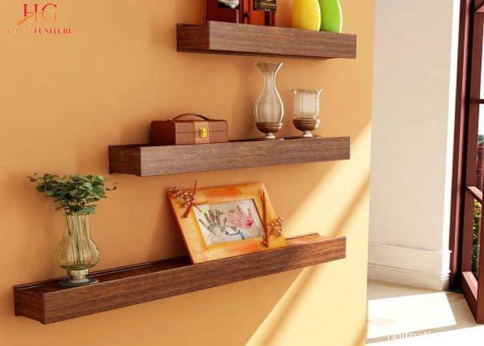 Kệ gỗ thiết kế tối giản cho không gian hiện đại