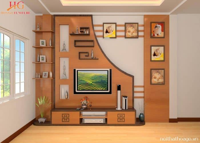 Kệ gỗ ốp tường kết hợp với kệ tivi phòng khách