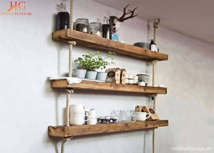 Kệ gỗ treo tường handmade bằng dây thừng