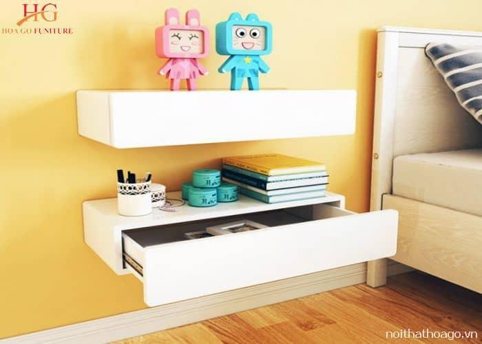thiết kế kệ gỗ treo tường handmade ngăn kéo