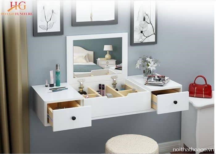 Mẫu kệ gỗ treo tường phòng ngủ có bàn trang điểm
