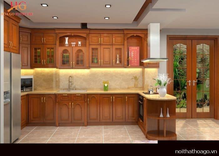 Phòng bếp đẹp và tiện nghi với tủ bếp tân cổ điển