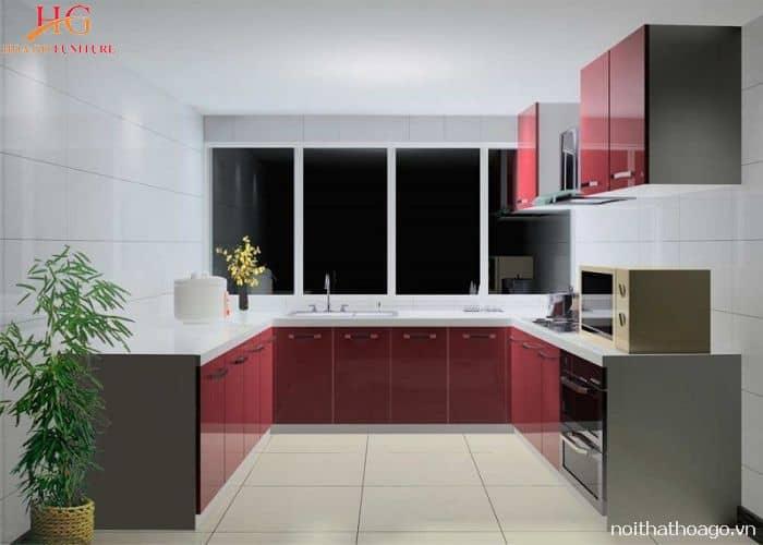 Nội thất tủ bếp gỗ công nghiệp chữ U phù hợp nhà phong cách hiện đại