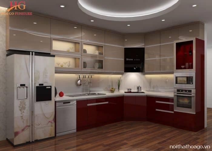 Mẫu nội thất tủ bếp gia đình kịch trần giúp tiết kiệm không gian ngôi nhà