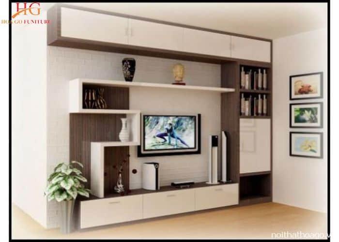 Vách ngăn gỗ kết hợp kệ tivi để trang trí