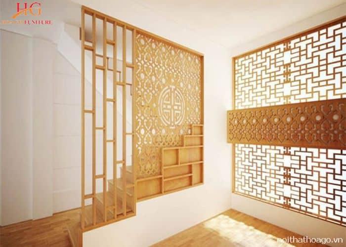 Vách ngăn bằng gỗ trang trí cầu thang đa năng