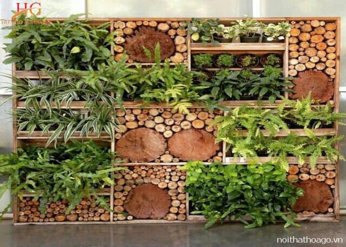 Vách ngăn bằng gỗ cho không gian phòng khách thêm tươi mát