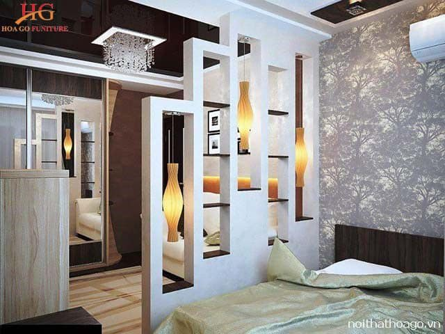 Loại vách ngăn kết hợp đèn ngủ giúp nội thất căn phòng thêm hiện đại hơn