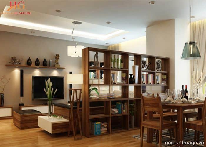 Vách ngăn gỗ tự nhiên cùng màu với nội thất