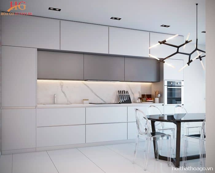 Tủ bếp âm tường màu trắng sang trọng