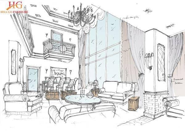 Nên phác thảo bản vẽ thiết kế nội thất phòng khách để dễ dàng thi công