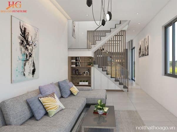 Bố trí nội thất phòng khách đẹp theo kiến trúc tạo nên sự hài hòa cho không gian sống