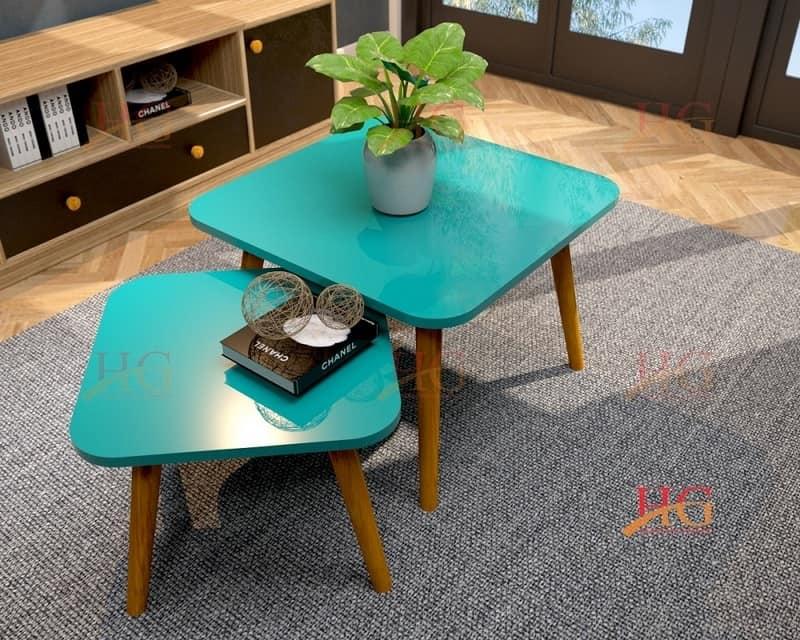 Sản phẩm bàn sofa chân gỗ Sồi tự nhiên hình vuông