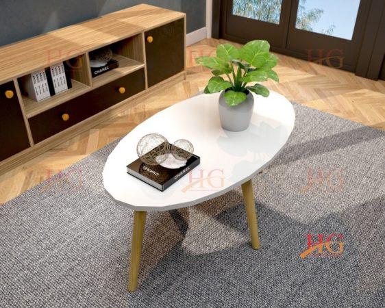 Bàn sofa chân gỗ hình oval
