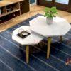 Combo 2 bàn sofa chân gỗ Sồi tự nhiên
