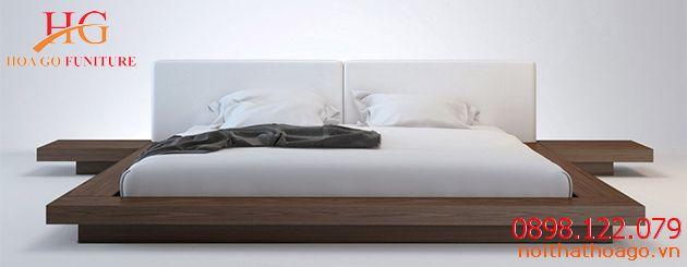 Giường ngủ hiện đại kết hợp với kệ để đồ hai bên. Giá sản phẩm trang trí nội thất