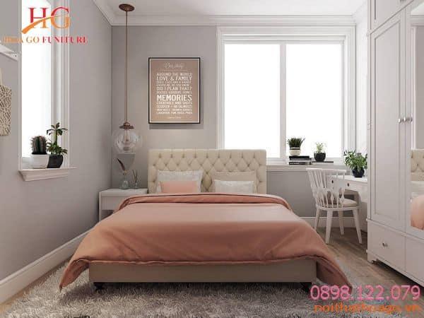 Nội thất cho nhà phố. Phòng ngủ màu sắc nhẹ nhàng vô cùng dễ chịu