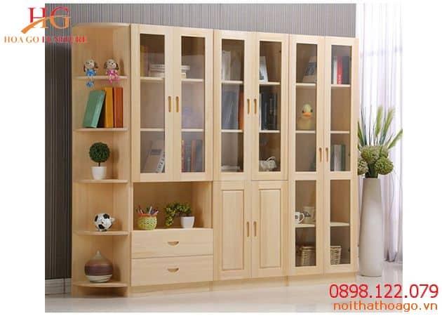 Giá sách gỗ giúp đựng sách, tài liệu và làm góc trang trí cho không gian