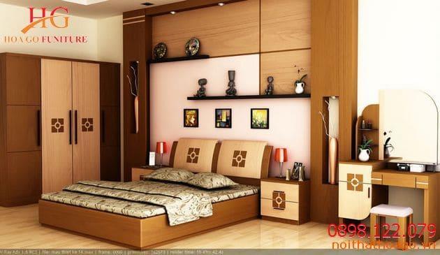 Giường ngủ, kệ sách hay kệ đồ được làm từ chất liệu gỗ cũng tạo nên ấn tượng cho không gian phòng ngủ. Nội thất gỗ nhà phố