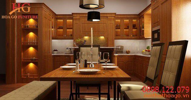 Khi phòng bếp được đặt các món đồ bằng chất liệu gỗ sẽ mang đến không gian gọn gàng ấm cúng mà rất sạch sẽ - nội thất nhà phố gỗ
