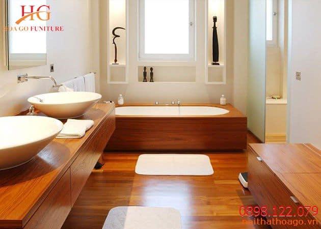 Thi công nội thất gỗ nhà phố cho phòng tắm