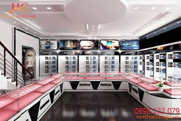 Showroom bán hàng điện thoại sang trọng, hiện đại