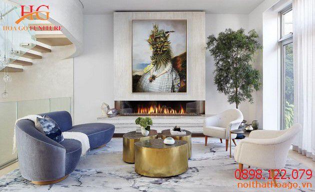 Mẫu nội thất phòng khách phong cách scandinavian. Sản phẩm nội thất gia đình