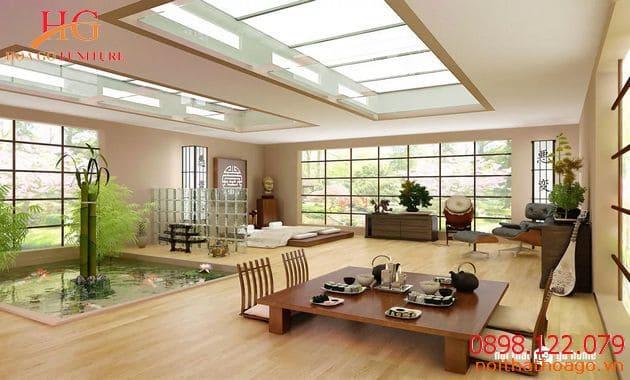 Nội thất nhà mặt phố phong cách kiểu Nhật Bản
