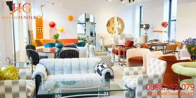 Showroom nội thất đẹp với màu sắc nổi bật