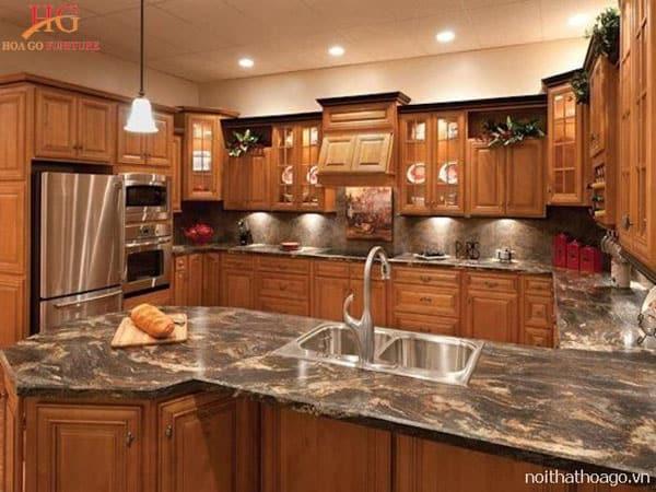 tu bep go xoan dao mat da granite 2 - Tổng hợp mẫu tủ bếp cao cấp sang trọng từ đá, gỗ, nhựa và nhôm