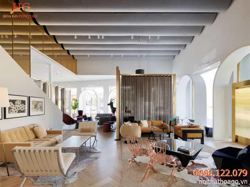 Thông thường giá thiết kế showroom nội thất dao động từ 120.000/m2 đến 180.000/m2 tùy từng mẫu
