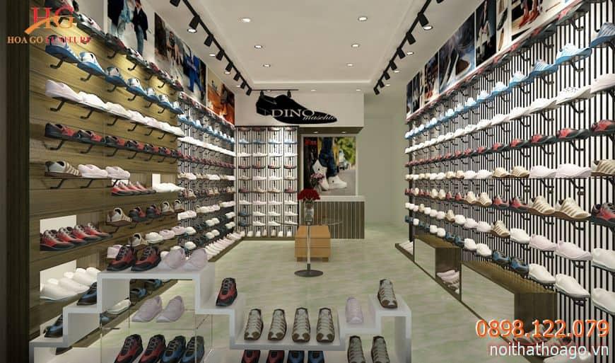 Kệ trưng bày quần áo giày dép giúp tôn lên giá trị sản phẩm