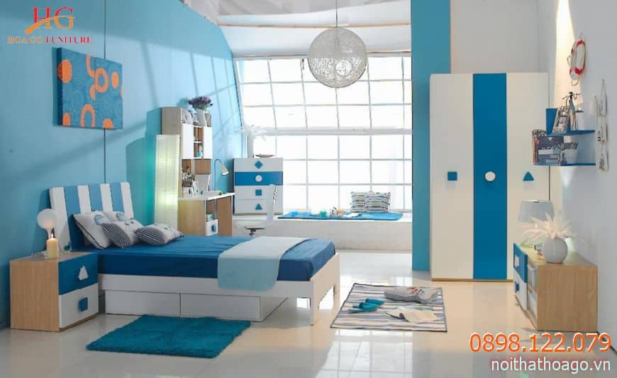 Phòng ngủ của các bé trai thường được trang trí năng động và đầy mạnh mẽ