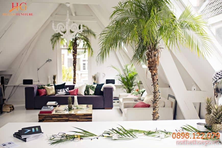 Showroom nội thất thường lấy các gam màu trắng, nâu, gỗ, beige làm chủ đạo