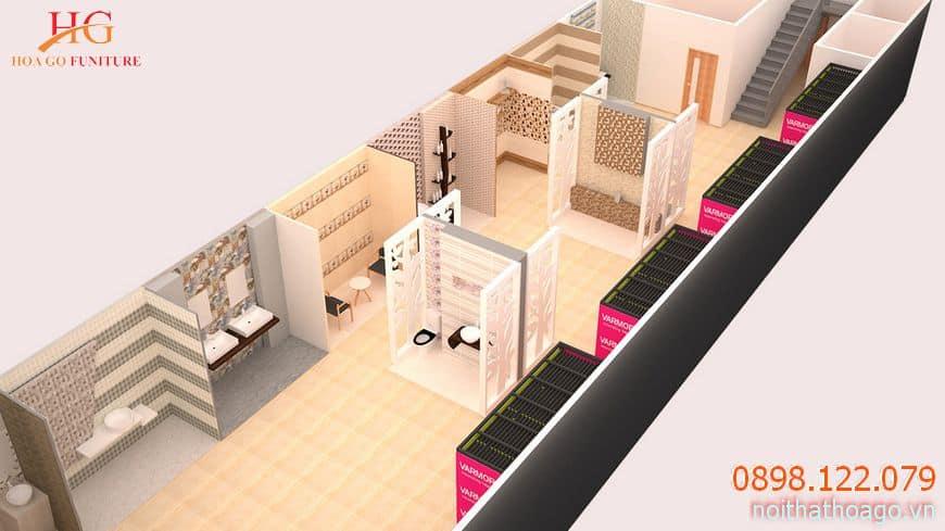 Thiết kế 3D về nội thất cửa hàng showroom