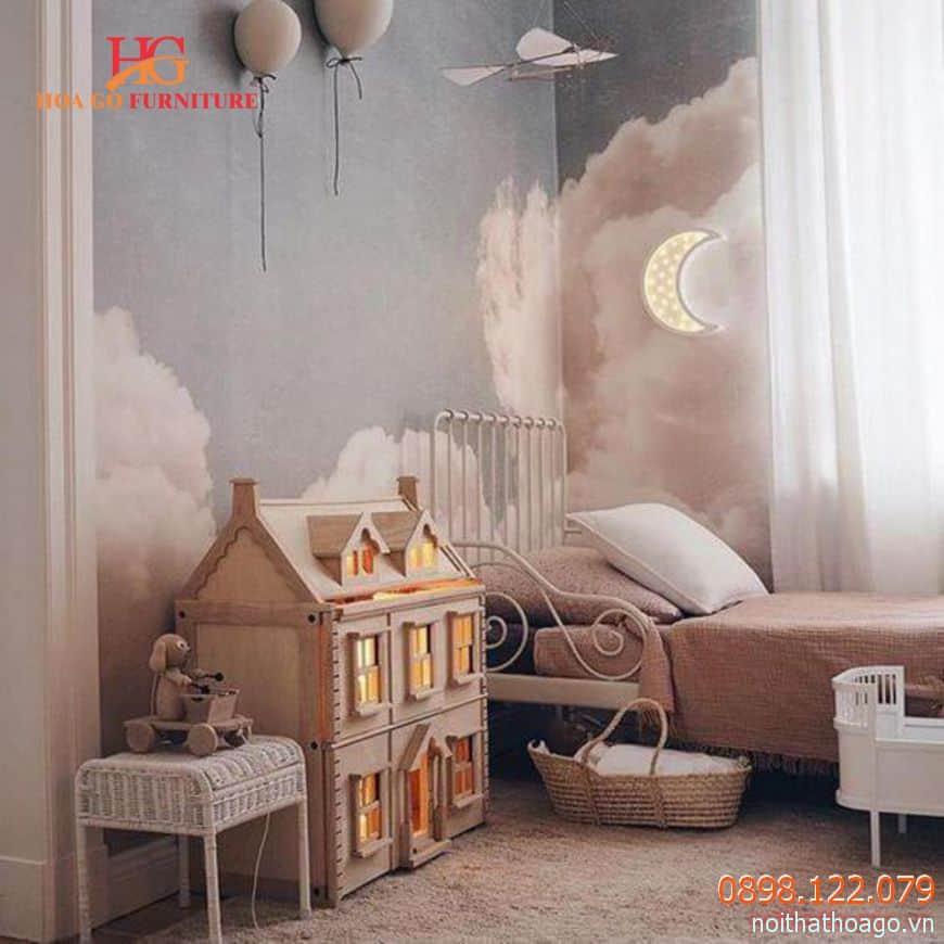 Trang trí nội thất phòng ngủ em bé với chủ để máy bay