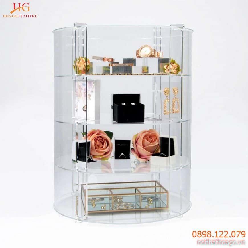 Tủ trưng bày trang sức mini làm từ Acrylic dạng tròn