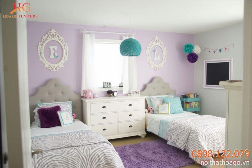 Nội thất hai giường đơn phù hợp với trẻ có tính tự lập