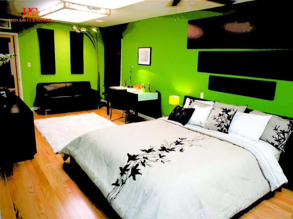 Phòng ngủ màu xanh lá nâu biến không gian nghỉ ngơi trở nên lý tưởng