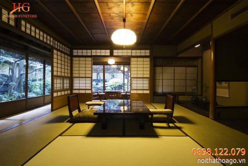 Vách ngăn trang trí kiểu Nhật giúp căn nhà rộng mở và gần gũi với thiên nhiên