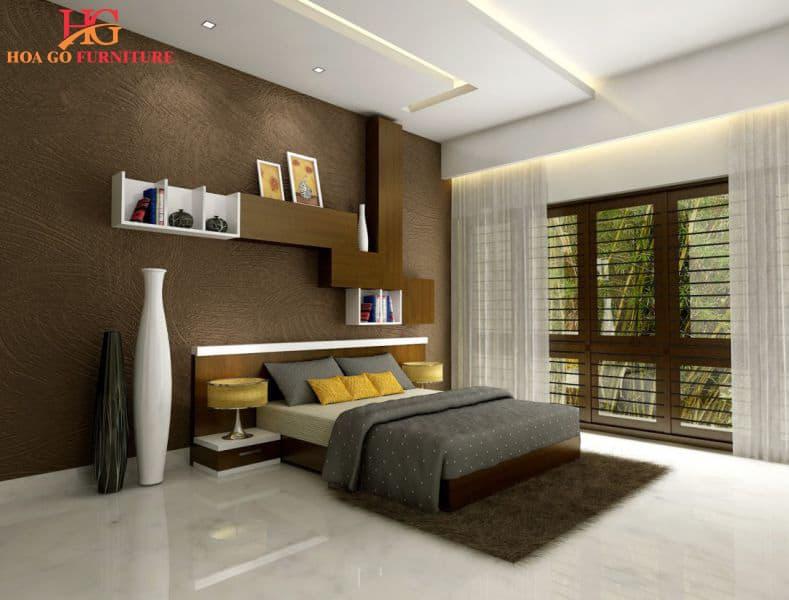 Sử dụng kệ treo tường trong thiết kế nội thất phòng ngủ đẹp