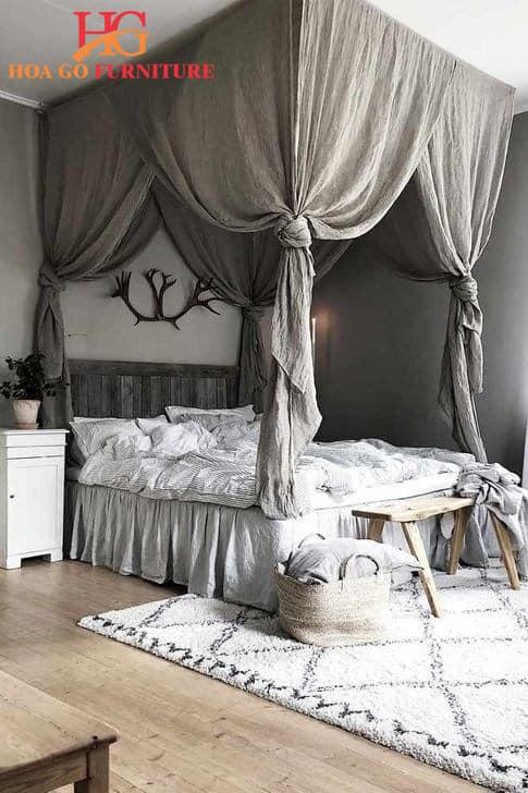 Thiết kế giường với khung màn
